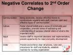 negative correlates to 2 nd order change
