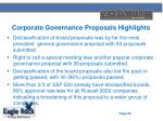 corporate governance proposals highlights