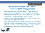 key observations and trends from the 2012 proxy season