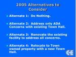 2005 alternatives to consider