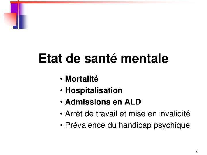 Etat de santé mentale