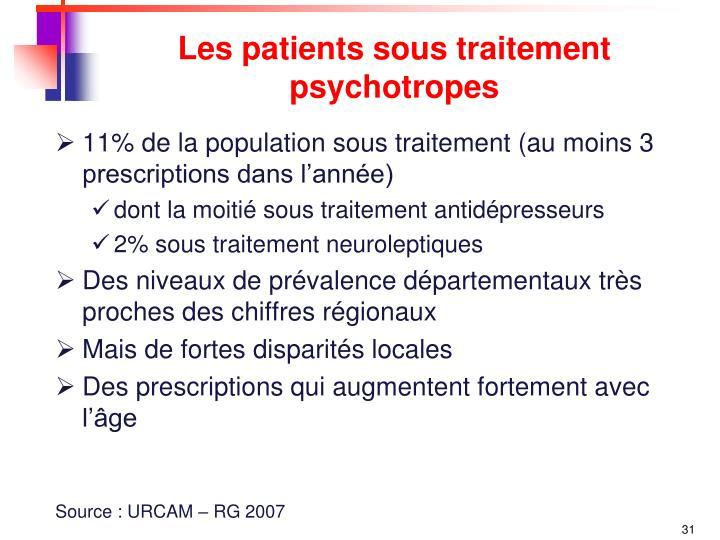 Les patients sous traitement psychotropes