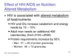 effect of hiv aids on nutrition altered metabolism
