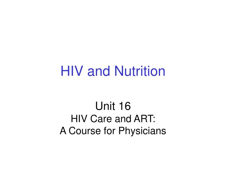 hiv and nutrition n.