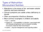 types of malnutrition micronutrient nutrition