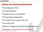 define xml sections elements