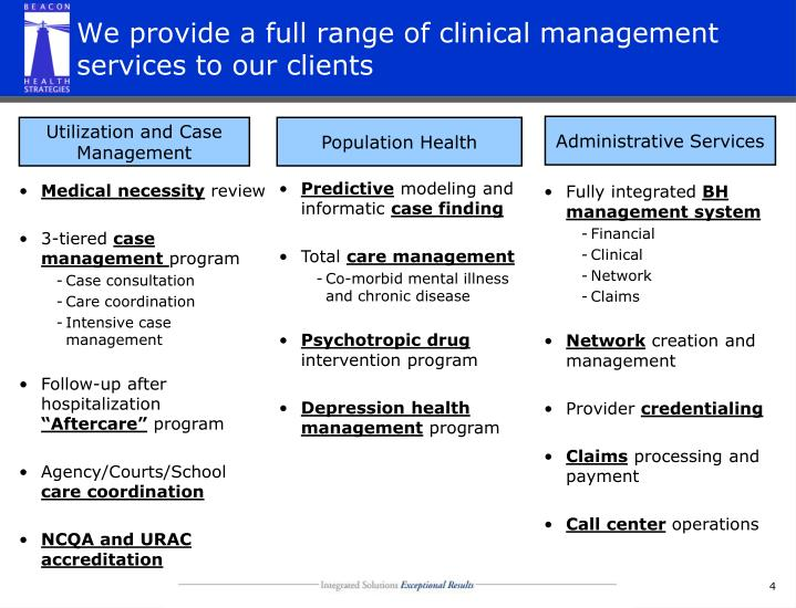 We provide a full range of clinical management services to our clients