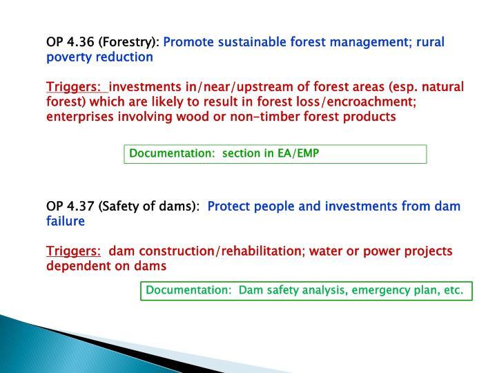 OP 4.36 (Forestry):