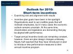 outlook for 2010 short term incentives