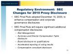regulatory environment sec changes for 2010 proxy disclosure