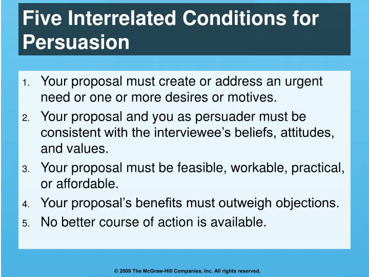 Five Interrelated Conditions for Persuasion