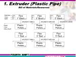 1 extruder plastic pipe bill of materials resources