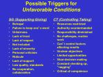 possible triggers for unfavorable conditions