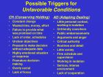 possible triggers for unfavorable conditions1