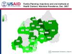 family planning injections and oral methods at health centers absolute prevalence dec 2007