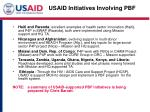 usaid initiatives involving pbf