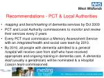 recommendations pct local authorities