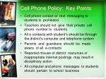 cell phone policy key points