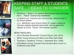 keeping staff students safe ideas to consider