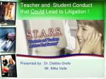teacher and student conduct that could lead to litigation