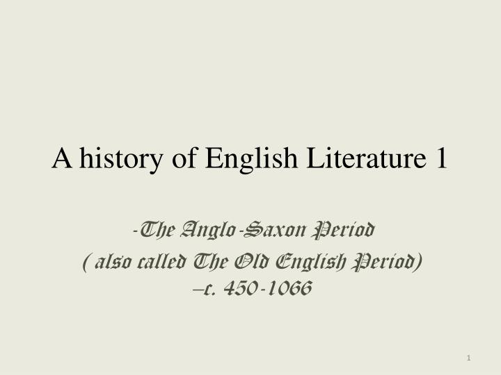 a history of english literature 1 n.