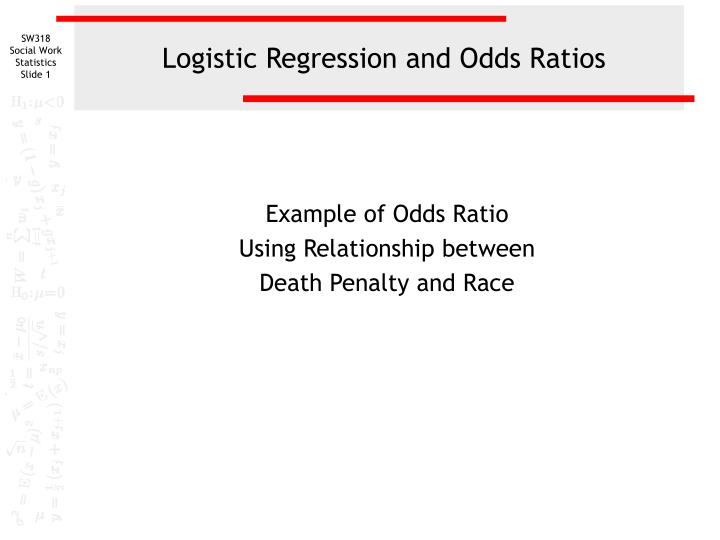 logistic regression and odds ratios n.