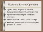 hydraulic system operation