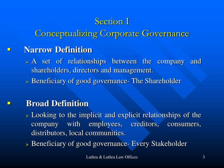 Section i conceptualizing corporate governance
