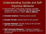 understanding suicide and self injurious behavior