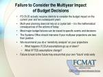 failure to consider the multiyear impact of budget decisions