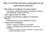 why is evolution the best explanation to the vast natural diversity