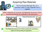 acquiring raw materials