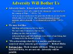 adversity will bother us