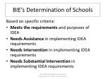 bie s determination of schools