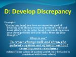 d develop discrepancy