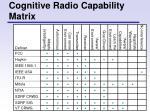 cognitive radio capability matrix