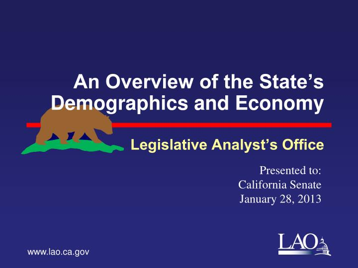 an overview of the state s demographics and economy n.