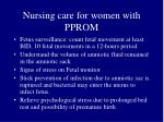 nursing care for women with pprom