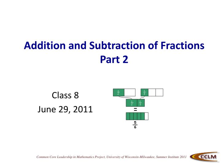 addition and subtraction of fractions part 2 n.