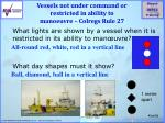 vessels not under command or restricted in ability to manoeuvre colregs rule 27