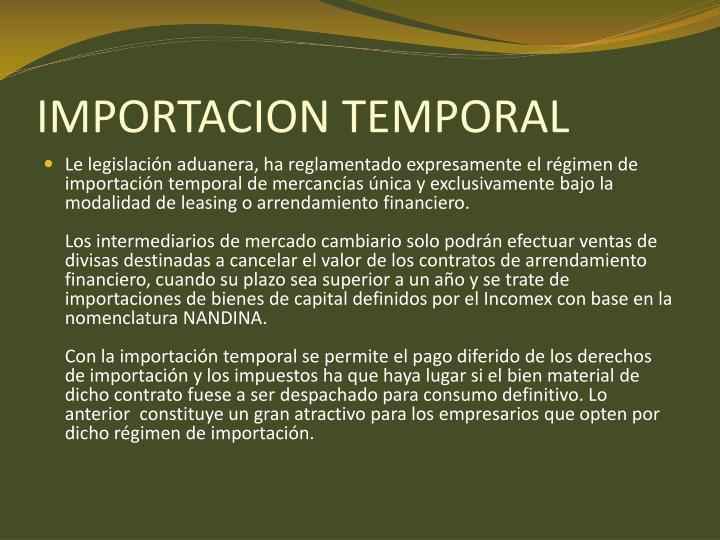 IMPORTACION TEMPORAL