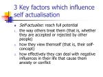 3 key factors which influence self actualisation