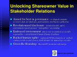 unlocking shareowner value in stakeholder relations