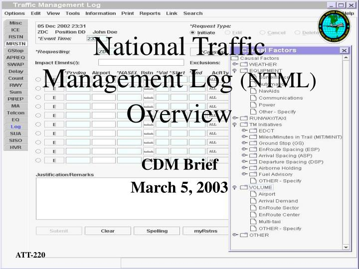 national traffic management log ntml overview n.