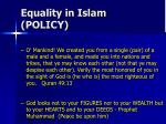 equality in islam policy