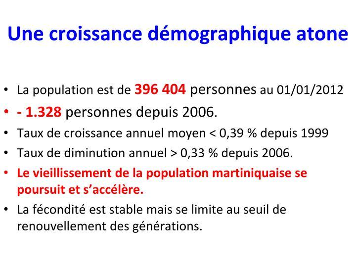 Une croissance démographique atone