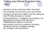 calling java stored programs from java