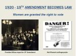 1920 19 th amendment becomes law