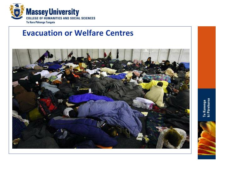 Evacuation or Welfare Centres