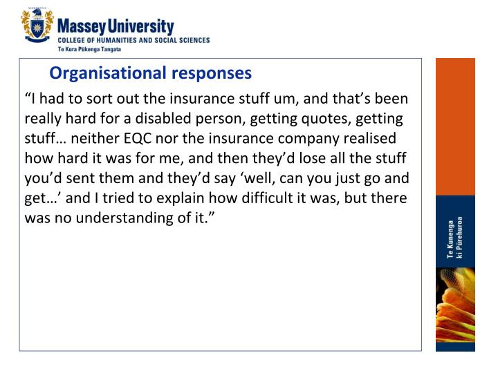 Organisational responses